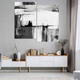 Δίπτυχος πινακας σε καμβα Abstract Black & White No2 (1.10Χ95 ύψος Χ πλάτος)
