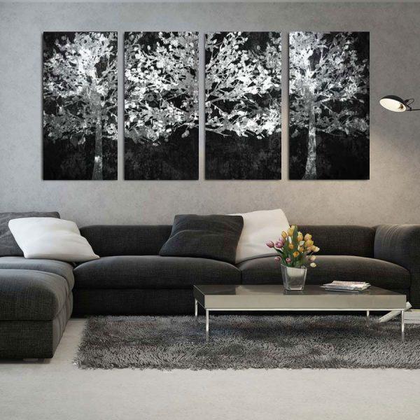 Τετράπτυχος πίνακας σε καμβά Λευκά δέντρα