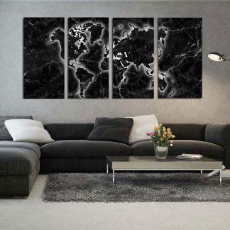 Τετράπτυχος πίνακας σε καμβά Black Marble World map