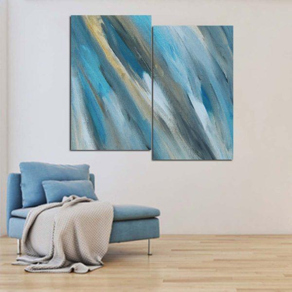 Δίπτυχος πινακας σε καμβα Calm blue abstract