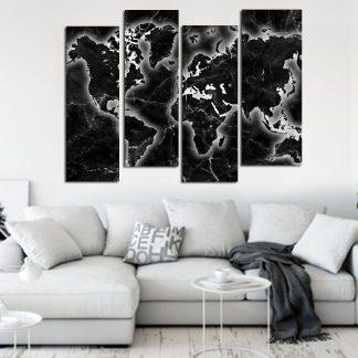 Τετράπτυχος πίνακας σε καμβά black marble world map no4 ασύμμετρος