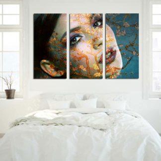 Τρίπτυχος πίνακας σε καμβά Van Gogh Almond Blossom Woman