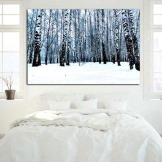 Πινακας σε καμβα κορμοι δεντρων σε χιονισμενο δασος
