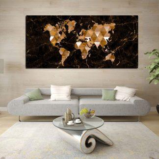 Πανοραμικός πίνακας σε καμβά brown marble world map