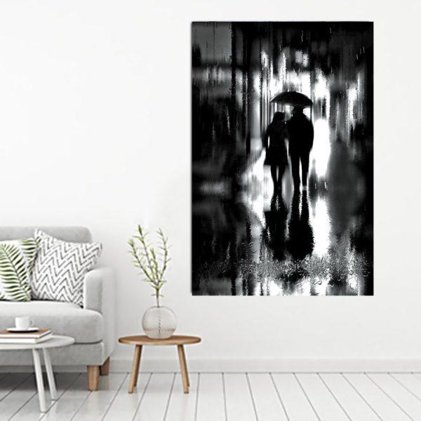 Καθετος πινακας σε καμβα fine art couple black and white