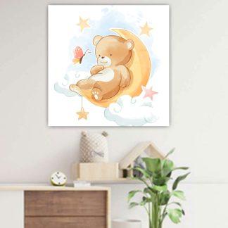 Βρεφικός παιδικός πίνακας με αρκουδάκι επάνω σε φεγγάρι