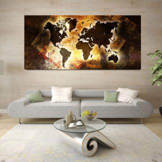 Πανοραμικός πίνακας σε καμβά abstract sunlight world map