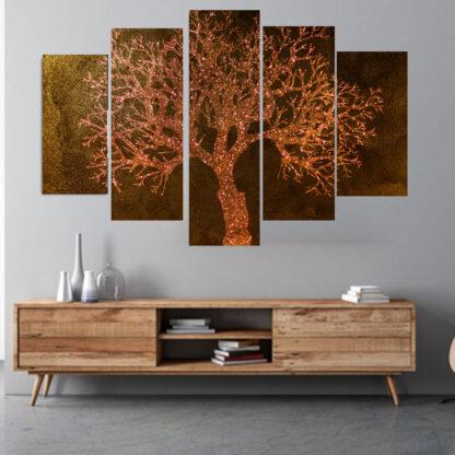 Πεντάπτυχος πίνακας σε καμβά Magic Tree