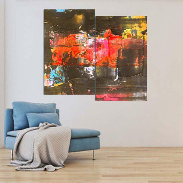 Δίπτυχος πινακας σε καμβα brown red abstract