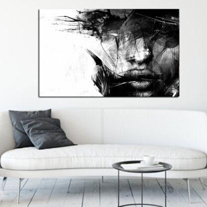 Πινακας σε καμβα abstract face black and white