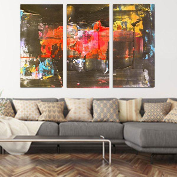 Τρίπτυχος πίνακας σε καμβά Brown Abstract