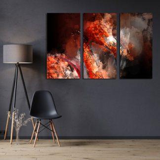 Τρίπτυχος πίνακας σε καμβά Red flamingo