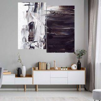 Δίπτυχος πινακας σε καμβα white abstract