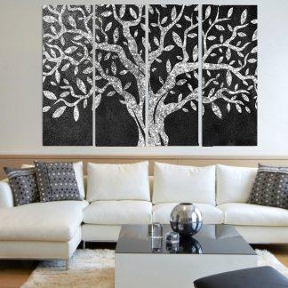 Τετράπτυχος πίνακας σε καμβά ελιά grey