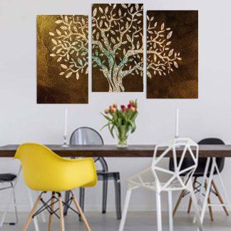 Τρίπτυχος πίνακας σε καμβά δέντρο ελιάς ασσύμετρος