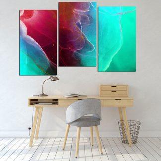 Τρίπτυχος πίνακας σε καμβά abstract marble ασσύμετρος