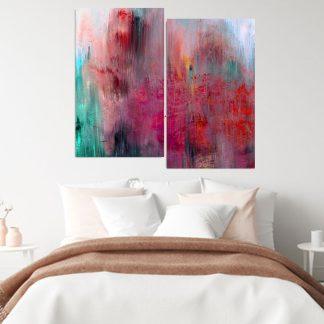 Δίπτυχος πίνακας σε καμβά abstract tulip field