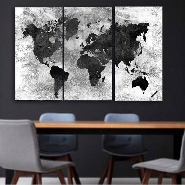 Τρίπτυχος πίνακας σε καμβά World Map white Grey