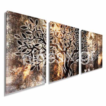 Τρίπτυχος πίνακας σε καμβά Abstract shine olive tree
