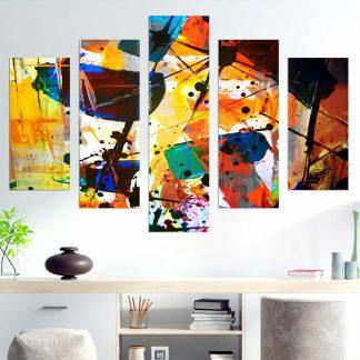 Πεντάπτυχος πίνακας σε καμβά Abstract Art Explosion